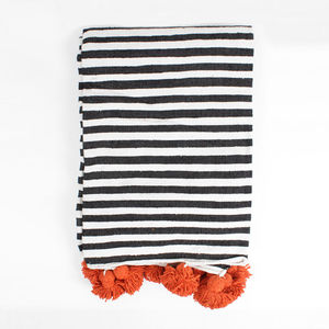 Cotton Stripe Pom Pom Blanket