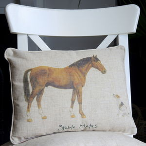 Personalised Horse And Jack Russell Cushion - bedroom