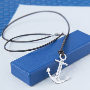 Men's Personalised Sterling Silver Anchor Necklace - necklaces