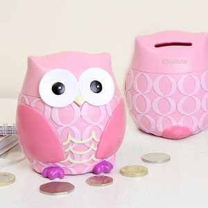 Pink Owl Personalised Money Box - children's room accessories