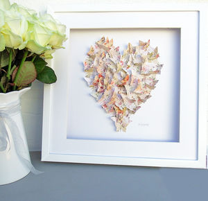 Framed 3D Vintage Music Sheet Butterfly Artwork - mixed media & collage