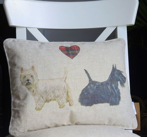 Personalised Scottie And Westie Dog Cushion - bedroom
