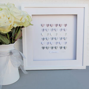 Framed 3D Box Of 'Wedding' Hearts - mixed media & collage