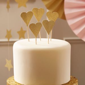 Gold Glitter Heart Cake Toppers - cake toppers & decorations