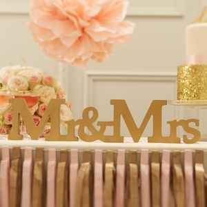 Gold Wooden Mr And Mrs Sign - new in wedding styling