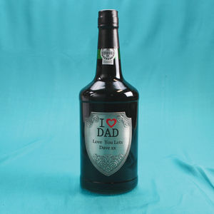 'I Love Dad' Personalised Port With Pewter Label - sherry & port