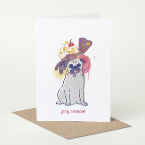 Pug Dog 'Pug Sundae' Birthday Card