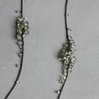 Long Green Amethyst And Oxidised Silver Necklace