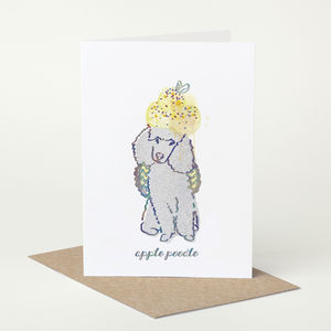 Poodle Dog 'Apple Poodle' Birthday Card