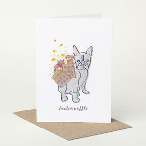 Boston Terrier Dog 'Boston Waffle' Birthday Card