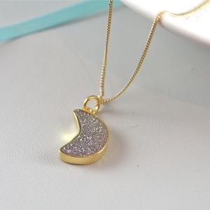 Moon Pendant Necklace With Druzy - women's jewellery