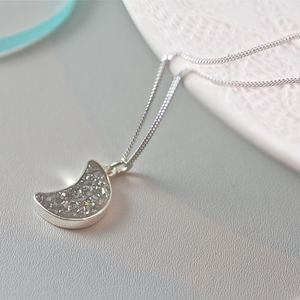 Moon Pendant Necklace With Druzy