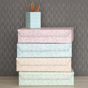 Recycled Pastel Paisley A4 Storage Box File