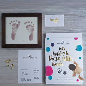 Baby Shower Inkless Handprint Footprint Kit - keepsakes