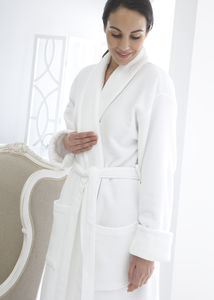 Rimini Waffle Lined White Dressing Gown