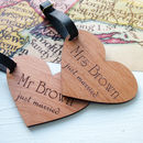 Just Married Personalised Heart Luggage Tags
