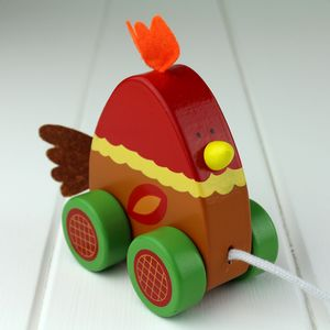 Hand Painted Wooden Chicken Pull Along