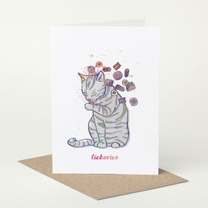Tabby Cat 'Lickorice' Birthday Card