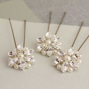 Set Of Three Pearl And Crystal Cluster Hair Pins - women's accessories