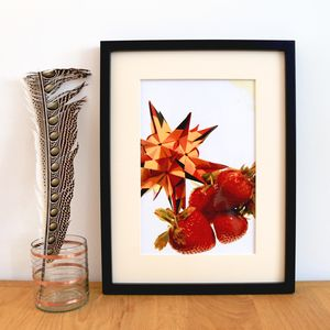 Origami Dodecahedron With Strawberries Giclee Print