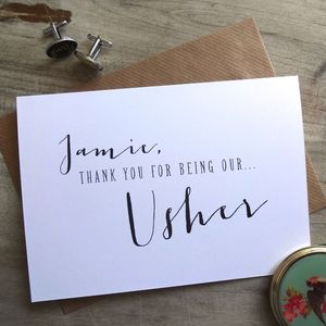 Thank You For Being Our Usher Card - wedding cards