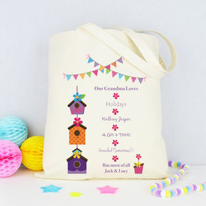 Personalised 'Grandma Loves' Shopping Tote Bag - shopper bags