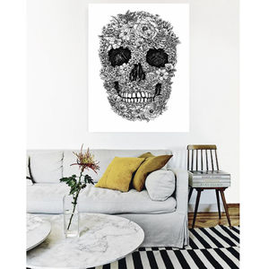 Blooming Skull Illustration, Canvas Art - still life