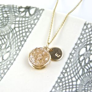 Personalised Gold Druzy Necklace - jewellery gifts for mothers