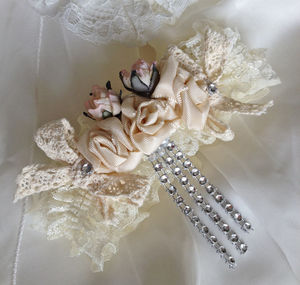 Ivory Lace Wedding Garter - the morning of the big day