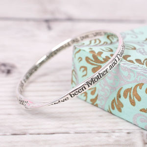 Sterling Silver Mother And Daughter Message Bangle