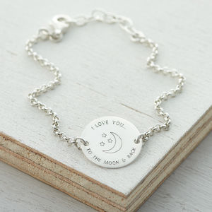 Love You To The Moon And Back Silver Bracelet - for her
