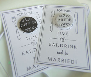 Wedding Place Cards With Personalised Badges