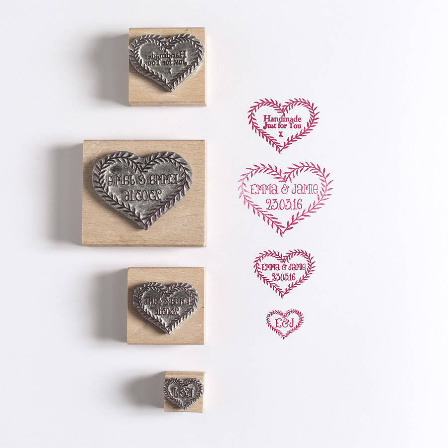 Leaf Heart Save The Date Wedding Rubber Stamp