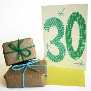 'Magic Numbers' 30th Birthday Hand Printed Card - new lines added