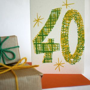 'Magic Numbers' 40th Birthday Hand Printed Card - new lines added