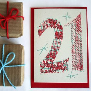 'Magic Numbers' 21st Birthday Hand Printed Card - birthday cards