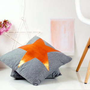 Copper Metallic Star Cushion