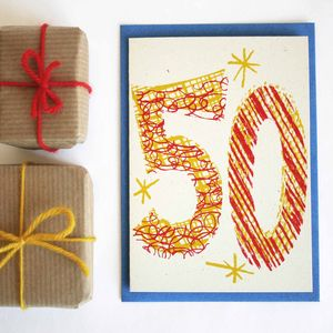'Magic Numbers' 50th Birthday Hand Printed Card - new lines added
