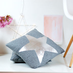 Silver Metallic Star Cushion