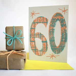 'Magic Numbers' 60th Birthday Hand Printed Card - birthday cards