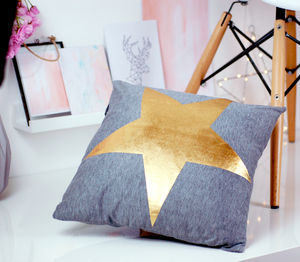 Gold Brass Metallic Star Cushion - our black friday sale picks
