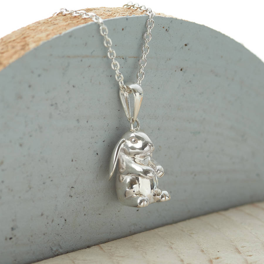 Sterling silver lop eared rabbit necklace by hurleyburley junior sterling silver lop eared rabbit necklace aloadofball Choice Image