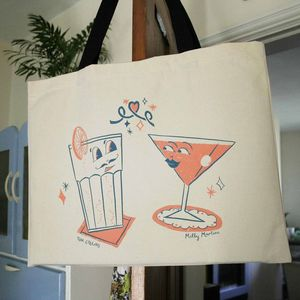 'Cocktail Lovers' Screen Printed Shopper Bag