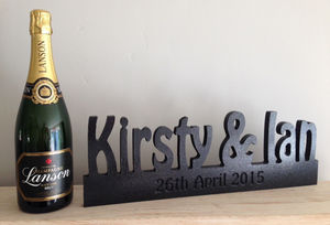 Wedding Name And Date Wooden Block Personalised