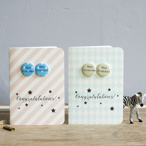 New Grandma And Grandad Badge Card - cards & wrap