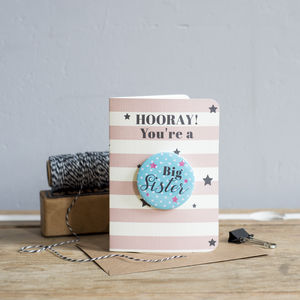 Hooray You're A Big Sister New Baby Card