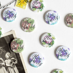 Vintage Style Floral Mini Hen Party Badges - hen party styling