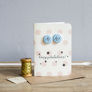 Mr And Mrs Mini Badge Wedding Card