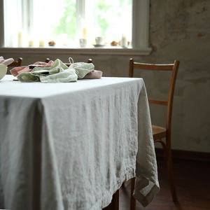 Stone Washed Silver Linen Tablecloth - tableware