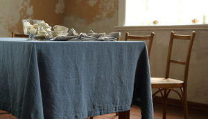 Stone Washed Blue Linen Tablecloth - table linen
